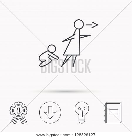 Unattended baby icon. Babysitting care sign. Do not leave your child alone symbol. Download arrow, lamp, learn book and award medal icons.