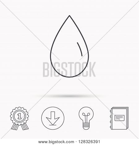 Water drop icon. Liquid sign. Freshness, condensation or washing symbol. Download arrow, lamp, learn book and award medal icons.