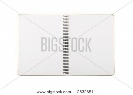 Book with spiral wire open blank two pages isolated on white background with clipping path