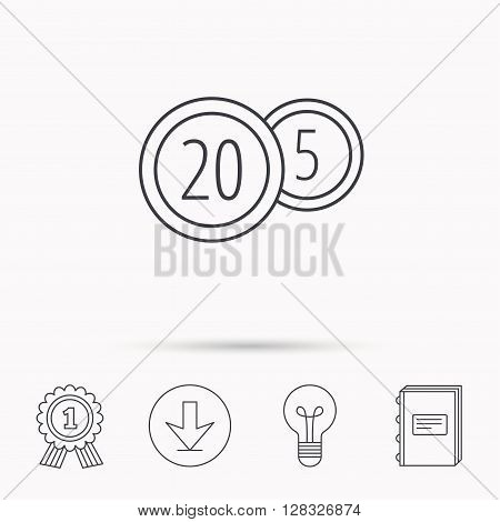 Coins icon. Cash money sign. Bank finance symbol. Twenty and five cents. Download arrow, lamp, learn book and award medal icons.