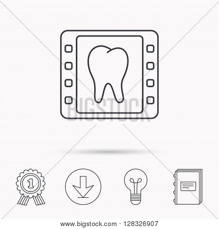 Dental x-ray icon. Orthodontic roentgen sign. Download arrow, lamp, learn book and award medal icons.
