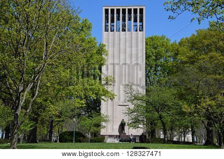 WASHINGTON, DC - APR 16: Robert Taft Memorial in Washington DC, as seen on April 16, 2016. It is a carillon dedicated as a memorial to US Senator Robert Taft, son of President William Howard Taft.