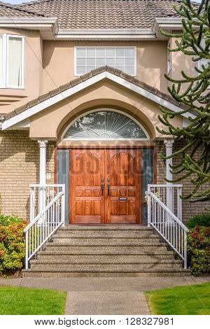 A nice entrance of a luxury house in Vancouver, Canada.