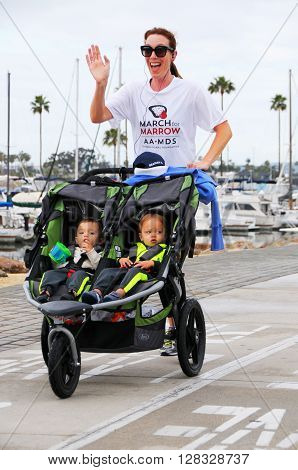 Long Beach California/USA-April 30 2016: Runner and baby's Running in the March for Marrow 5k Race