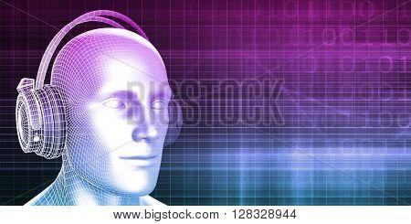 Man Wearing Earphones on an Abstract Background Art 3D Illustration Render