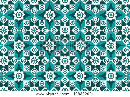 A Beautiful Turquoise Arabesque Mosaic Pattern Background