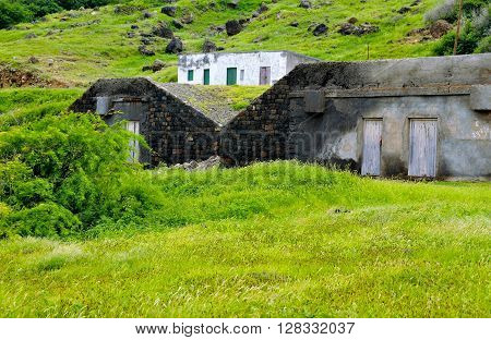 Two bunkers made from reals tone under the road leading to the airport on the island of Brava Cabo Verde