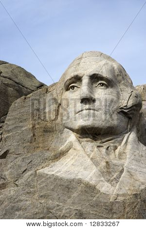 George Washington carved in granite at Mount Rushmore National Monument, South Dakota.