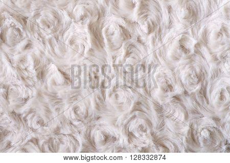 Background of artificial fur. Beige fleecy curls texture