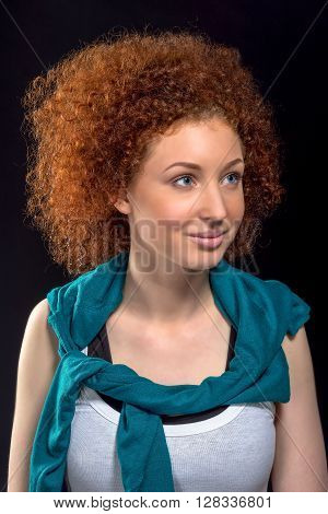 Portrait Of Beautiful Gorgeous Female Fashion Model With Red Curly Hair In White Shirt With A Jacket