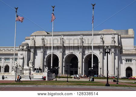 WASHINGTON, DC - APR 16: Union Station in Washington DC, as seen on April 16, 2016. Opened in 1907, it is Amtrak's headquarters.