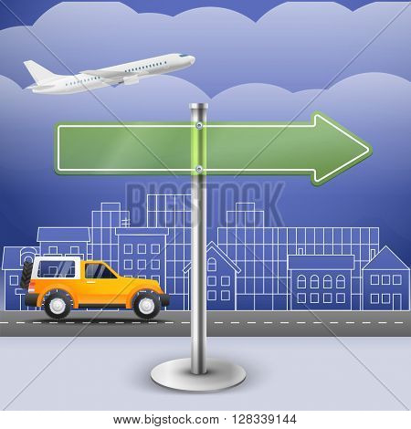 Blank glass arrow board. City trafic illustration. Template for a text. Direction to 