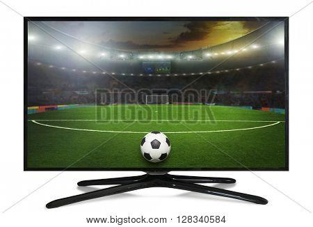 watching smart tv translation of football game.