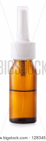 Nasal spray container isolated on white background with clipping path. Brown glass bottle with diffuser for nasal spray