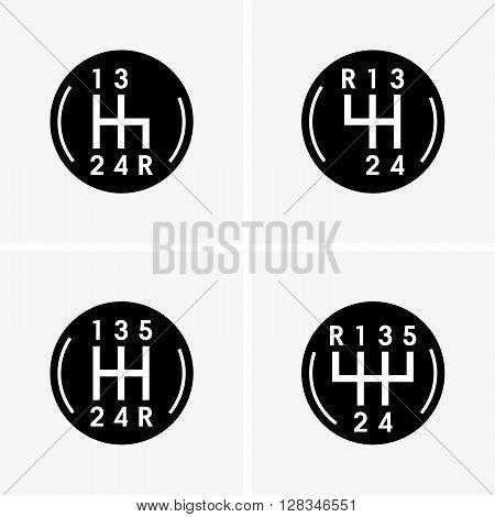 Set of four gear shifters in black roud