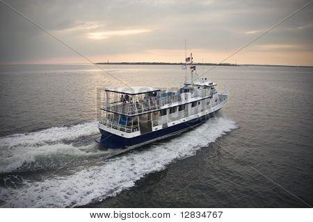 Passenger ferry crossing sea at Bald Head Island, North Carolina.