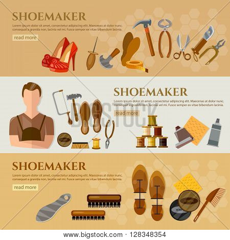 Professional cobbler shoe repair shoe care tools shoemaker vector illustration