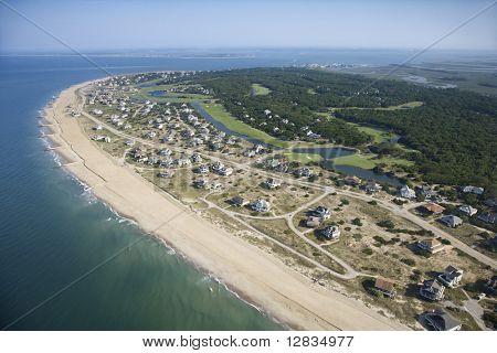 Aerial view of beach and residential neighborhood at Bald Head Island, North Carolina.