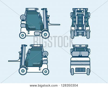 Set stock vector illustration isolated loader front, side, back view in line style blue background Element for site, info graphics, video, animation, websites, e-mails, newsletters, reports, comic