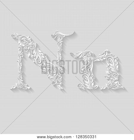 Handsomely decorated letter N in upper and lower case on gray
