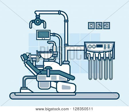 Stock vector illustration interior of dental office with dental chair in line style element for info graphic, website, icon