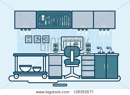 Stock vector illustration set of dental office with dental chair, cabinet of dentist, dental equipment in line style element for info graphic, website, icon