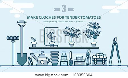Stock vector illustration set garden tools, seedling tomatoes on the shelf in line style element for info graphic, website, icon, games, motion design, video