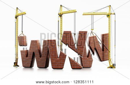 Brick www letters carried by construction cranes forming www word.