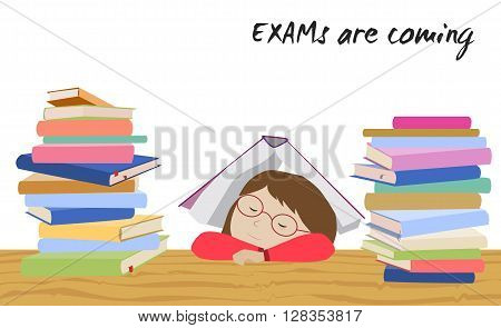 Tired schoolgirl sleeping under a book. Examination test preparation. Exam student stress. Before exams. Cartoon vector.