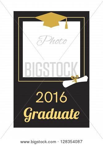 Student 2016 graduation photo frame. Greeting card design. Graduation celebration. Graduation ceremony  party invitation. Vector flat design.