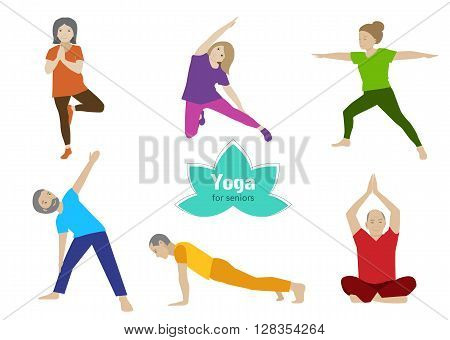 Yoga for seniors set. Collection of stretching, balance exercises for older people. Sport activity for elderly. Vector flat set. Senior healthy lifestyle.