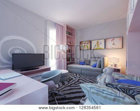 Modern bedroom for two children. 3d render