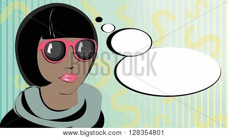 Pop art swarthy woman in a sunglasses thinking. Pop art thoughts. African american female character.