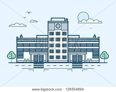 Stock vector illustration city street with contemporary multistorey hospital, modern architecture in line style element for infographic, website, icon, games, motion design, video