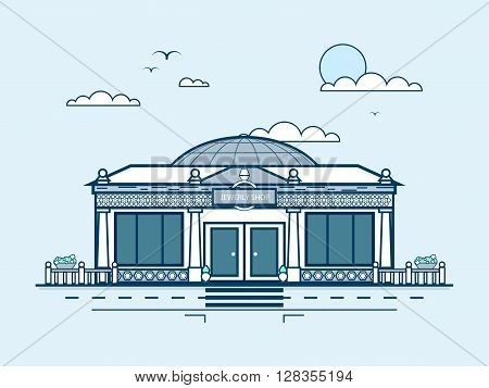 Stock vector illustration city street with jewelry shop, modern architecture in line style element for infographic, website, icon, games, motion design, video