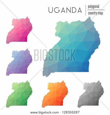 Set Of Vector Polygonal Uganda Maps. Bright Gradient Map Of Country In Low Poly Style. Multicolored