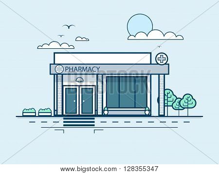 Stock vector illustration city street with pharmacy, modern architecture in line style element for infographic, website, icon, games, motion design, video