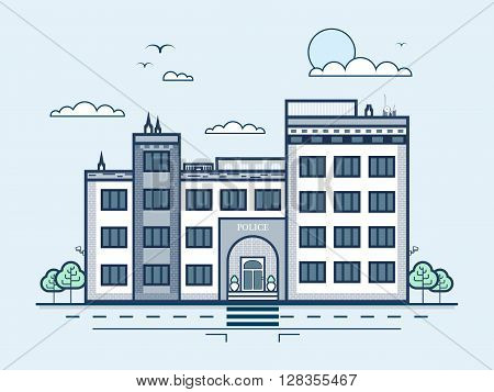 Stock vector illustration city street with police station, modern architecture in line style element for infographic, website, icon, games, motion design, video