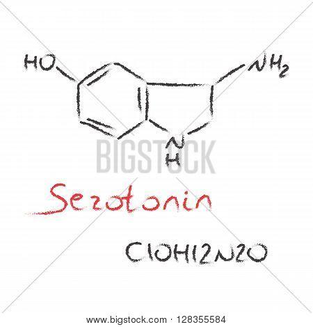 vector Serotonin black hand drawn black and red formula