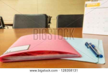 Motion blur of view of manager desk