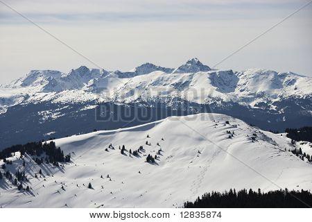 Snow covered mountain range in Colorado.