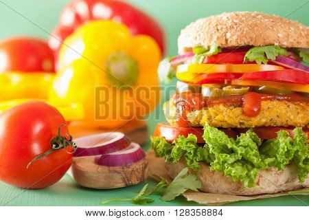 veggie chickpea and sweetcorn burger with pepper jalapeno onion