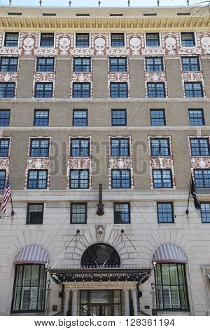 WASHINGTON, DC - APR 15: W Washington D.C. in USA, as seen on Apr 15, 2016. It is an artsy, modern hotel housed in a storied 1917 beaux arts building.