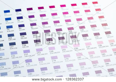 Closed up Color charts for printing industry