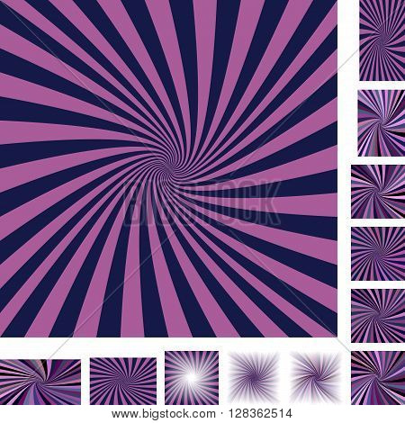 Retro vector spiral design background set. Different color, gradient, screen, paper size versions.