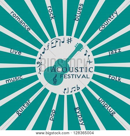 Template Design Poster with acoustic guitar silhoette. Idea to announce Live Music Festival with acoustic guitars. Festival Acoustic Music promotion advertisement. Vector illustration.