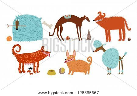 The vector illustration of various blue and orange dogs