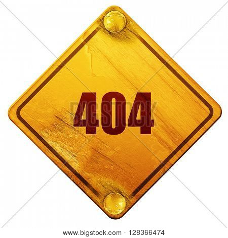 404 page, 3D rendering, isolated grunge yellow road sign