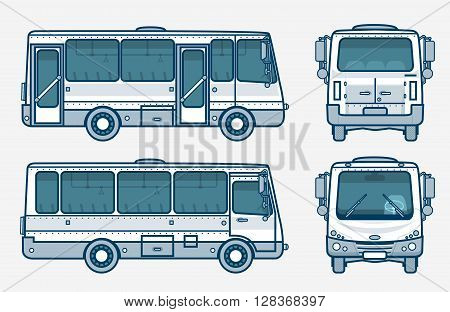 Set stock vector illustration isolated bus front, side, back view line style blue background Element for site, info graphic, video, animation, website, e-mail, newsletter, reports, comic, icon