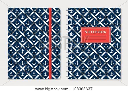 Notebook cover design. Notepad with elastic band and spiral notebook with anchors and rope. Nautical style collection. Vector set.